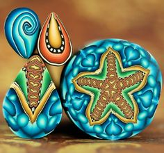 Set of 4 Starfish and Matching Polymer Clay Canes - 'Under the Sea' series