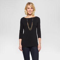 Women's Boatneck T-Shirt Ebony L - Merona, Black