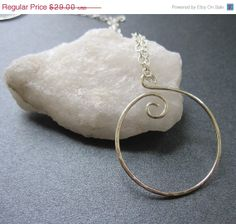 """ON SALE 18"""" Sterling Silver SWIRL Interchangeable necklace pendant, handcrafted and hammered, small chain Unique Kreations"""