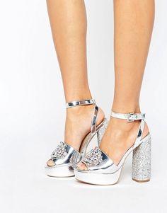 Discover Fashion Online Chaussure, Chaussures À Talons Hauts Argentées,  Brides À La Cheville, c17778209dd1