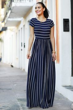 Evalisse Maxi Dress Navy and White