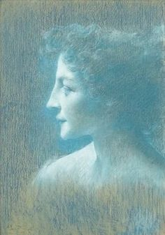 """Lucien Lévy-Dhurmer (French 1865 - 1953), """"The Blue Profile"""", Pastel on Paper. (Enlarge)"""