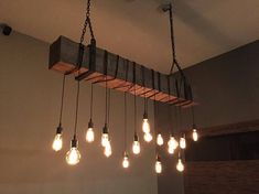 Reclaimed Wooden Barn Beam Light Fixture with Brackets and Wrapped LED Edison Bulbs - Rustic Modern Industrial Chandelier lighting Farmhouse Chandelier Lighting, Farmhouse Light Fixtures, Industrial Light Fixtures, Rustic Lighting, Industrial Lighting, Modern Lighting, Industrial Chandelier, Bar Lighting, Lighting Ideas