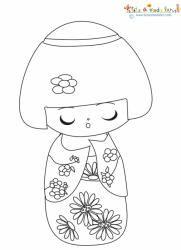 Fabriquer une Kokeshi, la poupée japonaise Kokeshi sur Tête à modeler Doll Drawing, Kokeshi Dolls, Pencil Eyeliner, Christmas In July, Smurfs, Coloring Pages, Creations, Diy, Embroidery