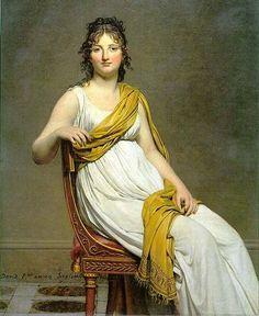 """Portrait of Madame Raymond de Verninac born Henriette Delacroix, elder sister of Eugène Delacroix. Signature: """"David fecit anno Septimo"""" by Jacques-Louis David, 1798-99, oil on canvas - in the Louvre Museum."""