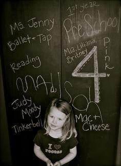 Madison's preschool favorites written on our chalkboard pantry door. :)