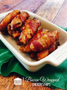 The Paleo Bacon-Wrapped Chicken Strips are soooo good! Make them for your next party or serve them at dinner with your favorite sides!