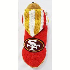 SF49ers NFL Dog Jersey San Francisco 49ERS Pet Hoodie by myknitt #SF49ERS #NFL #SuperBowl #handmade #myknitt