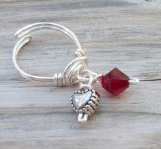 Heart and Crystal Charm Toe Ring
