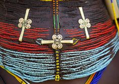 A 'Vilanda' : traditional Mwila Necklace, Chibia Area, Angola . Photography by Eric Lafforgue .