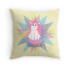 'Unicorn' Throw Pillow by imagology Framed Prints, Canvas Prints, Art Prints, Cartoon Unicorn, Cute Cartoon, Art Boards, Duvet Covers, Finding Yourself, Cushions