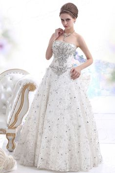 Timeless A Line Strapless Basque Waist Sweep Brush Train Tulle Wedding Dress CWLF13013  #cocomelody  #weddingdress