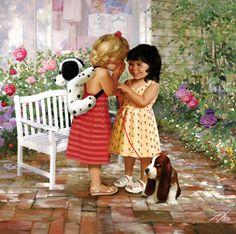 "Children portraits by artist Donald Zolan. ""Joy of Childhood: Sharing Secrets."" 1000 pieces."