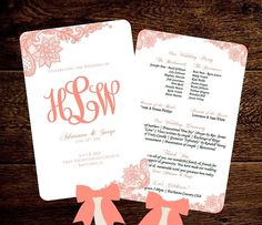 Wedding FAN Program Printable Template Monogram Coral Lace INSTANT Download diy Word Template - Free Suggested Fonts