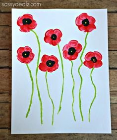 Fingerprint Poppy Flower Craft for Kids - Crafty Morning - - Have your kids make these beautiful fingerprint poppies! All you need is paint and fingers! These would be great on homemade cards or just for a spring art project. Memorial Day Activities, Remembrance Day Activities, Remembrance Day Poppy, Baby Turban, Poppy Craft For Kids, Crafts For Kids, Daycare Crafts, Paper Plate Poppy Craft, Memorial Day Poppies