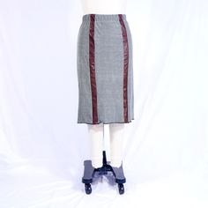 Cotton Stretch and Leather Strips with Elastic Waist