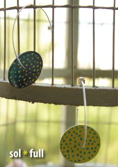 Polka dots Handmade - Handpainted bronze enamel discs with sterling silver hoops