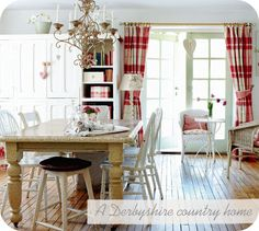 Living Country with red! Love the red plaid curtains