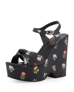Candy Floral-Print Wedge Sandal, Black/Multi, Women's, Size: 39.5B/9.5B, Noir Multi - Saint Laurent