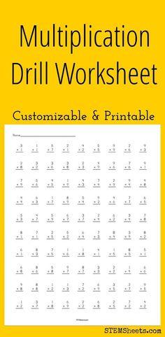 Jul 2016 - Multiplication Drill Worksheet - Customizable and Printable Multiplication Drills, Multiplication Facts Worksheets, Math Drills, Algebra Worksheets, Printable Math Worksheets, Math Facts, Math Fractions, Free Printable, Printables