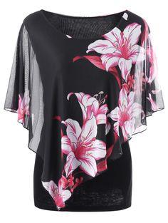 Plus Size Overlay Floral T-Shirt - Black 5xl