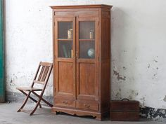 This impressive vintage wardrobe would make an great storage or display piece in your living-room, bedroom or kitchen. Visit the Scaramanga website to discover Vintage Furniture For Sale, Furniture Sale, Shabby Chic Furniture, Wooden Furniture, Kitchen Furniture, Vintage Kitchen Cabinets, Wooden Cabinets, Wooden Kitchen, Architrave