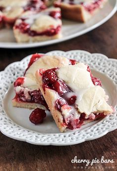 Simple and Sweet Cherry Pie Bars Recipe...could use any berry pie filling...whatever is in season!  Raspberry, Blueberry, Strawberry...YUM!