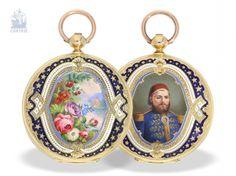 Карманные часы: изысканный, представительный золото эмаль-Savonnette для Османской рынка, Жив & Fils № 26250, 1840