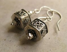 Balinese oxidized sterling silver hexagon shaped beads Everyday sterling silver drop earrings Balinese Dressy silver earrings - pinned by pin4etsy.com
