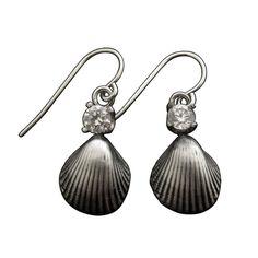 Sparkle & Shell Earrings in CZ