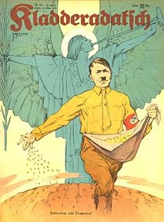 Kladderadatsch magazine, 22 March 1936: The seed of peace, not dragon's teeth' (Hitler is shown as a man of peace, and not war.)