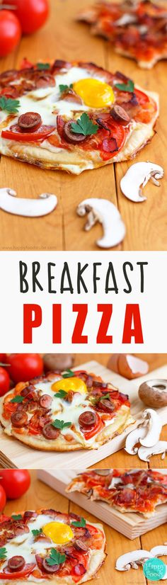 Breakfast Pizza Recipe - Breakfast pizza with bacon, mushrooms, beans and eggs is the way to start your day! All your favorite things on a pizza crust! It's hard to resist this deliciousness! Breakfast Pizza, Breakfast Time, Best Breakfast, Breakfast Ideas, Breakfast Sandwiches, Breakfast Bowls, Mexican Breakfast Recipes, Delicious Breakfast Recipes, Brunch Recipes