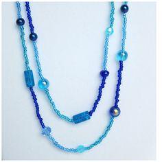 Blue Double Wrap Necklace/Beaded Necklace/ Long Blue Necklace/Blue Glass Beads/Layered Necklace/Light Blue/Seed Bead Necklace/Wrap Necklace