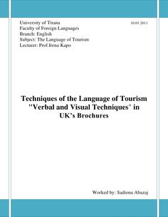 """""""Verbal and Visual Techniques"""" in UK's Brochures by SADIONA ABAZAJ"""