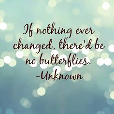 If nothing ever changed then there would be no butterflies!