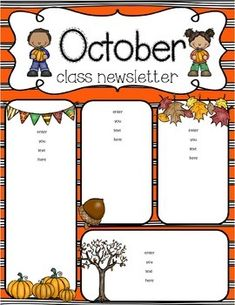 16c07cb9f0e0e6e2250bab701908ba30--october-teaching-resources October Clroom Newsletter Template on