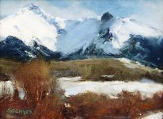 Sunlit Peaks by Mark Saenger Oil ~ 8 x 10