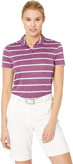 Hem vents in these womens Nike dri-fit striped golf polo shirts are strategically placed to help move with you during your swing! Nike Womens Golf, Womens Golf Polo, Womens Golf Shirts, Golf Polo Shirts, Indian Tunic Tops, Polo Shirt Women, Long Sleeve Shirts, Clothes For Women, Mens Tops