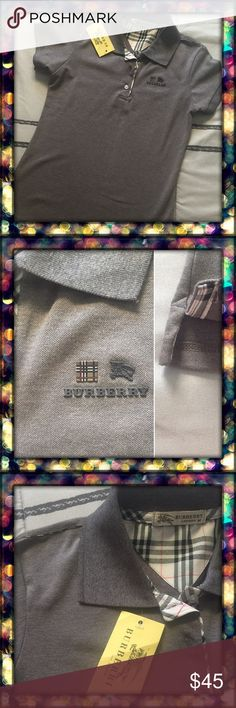 Burberry polo t-shirt Timeless and seasonless this Burberry polo brings classic luxury to casual basics. Peter-pan collar, short sleeves, embossed button half placket with check lining. Robbed collar and cuffs, knight logo at left chest, pullover style. High quality. Price reflects. Burberry Tops