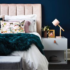 Heatherly Design offers a simply stunning range of upholstered bedheads, fully upholstered beds, footstools and storage boxes for the discerning designer. Emerald Green Bedrooms, Emerald Bedroom, Gold Bedroom, Emerald Green Decor, Velvet Bedroom, Green Headboard, Green Bedding, Pink Bedding, Luxury Bedding