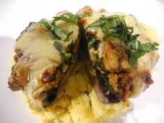 Stuffed Portobello with Spinach, Veggie Sausage & Fontina cheese