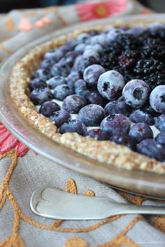 Organic Blueberry Soul Mandala Pie (nuts, dates, berries, bananas - no grain, no refined sugar)