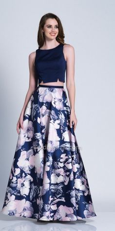 Leave the crowd with their jaws dropped in this Two Piece Keyhole Floral Printed A-line Prom Dress by Dave and Johnny. This style includes a jewel neckline with a fitted bodice, an A-line floral printed skirt, and a keyhole slit back. Indian Dresses, Indian Outfits, Lehenga Crop Top, Farewell Dresses, Lehnga Dress, Lehenga Choli, Long Skirt Outfits, Lehenga Online, A Line Prom Dresses