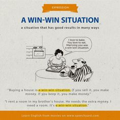 A win-win situation English Idioms, English Phrases, Learn English Words, English Writing, English Study, English Grammar, English Lessons, English Tips, English Language Learning