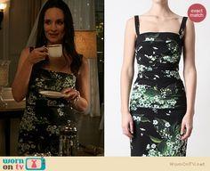 Victoria's black and green floral print dress on Revenge. Outfit Details: http://wornontv.net/19691 #Revenge #ABC