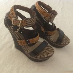 """Mossimo woven wedges Mossimo woven wedges with two buckled. Worn a few times. Heel is approx 5"""" Mossimo Supply Co Shoes Wedges"""
