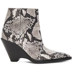 Acne Studios Caroline Snake Skin Booties (965 AUD) ❤ liked on Polyvore featuring shoes, boots, ankle booties, booties, wedge ankle booties, wedge heel boots, side zip boots, rubber sole boots and side zipper boots