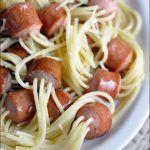 Threaded spagh0etti hot dog bites