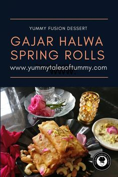 Gajar Halwa Spring Rolls served with Rabdi is a classic, fusion and innovative recipe. The fusion which is delectable & will transport you to food heaven. Indian Desserts, Indian Sweets, Indian Food Recipes, Chinese Desserts, Chinese Food, Indian Snacks, Easy Desserts, Vegetarian Platter, Vegetarian Recipes