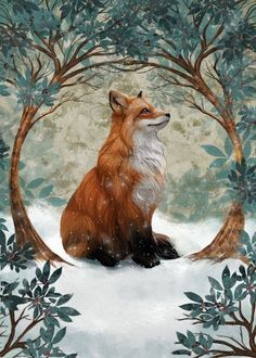 Feiern Sie jeden neuen Tag - F Fantasy Kunst, Fantasy Art, Cute Animal Drawings, Art Drawings, Fox In Snow, Animals Beautiful, Cute Animals, Animals In Snow, Fuchs Illustration